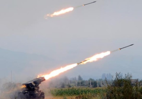 Ukrainiand army fires missiles at the nursing home, Lugansk city, Eastern Ukraine 2014